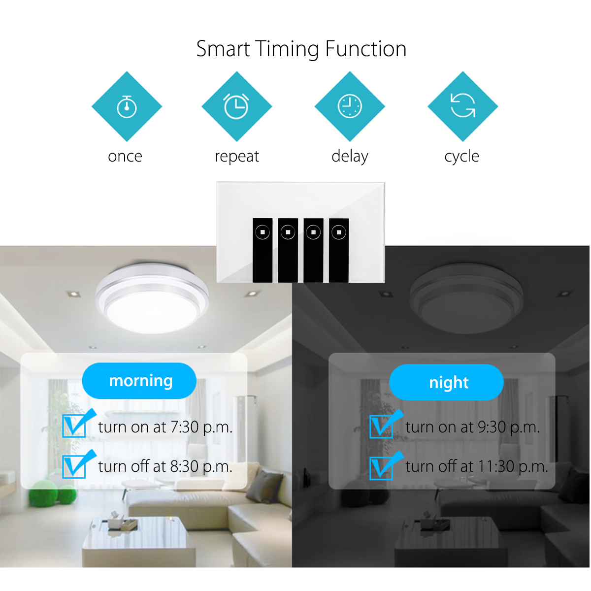Smart WiFi Switch Touch Wall Switch Panel Remote Control Compatible with Echo Alexa Google Home