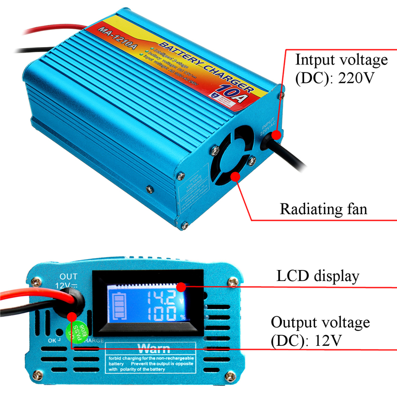 220VAC 10A Battery Charger 12V LCD Fully Automatic Battery Charging Equipment Fast Charging