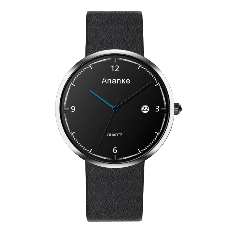 ANANKE Casual Style Calendar Men Watches Leather Strap