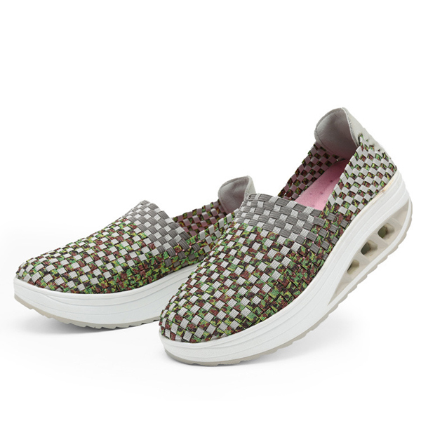 Colorful Rocker Sole Shoes Handmade Knit Shake Shoes Casual Slip On Sneakers