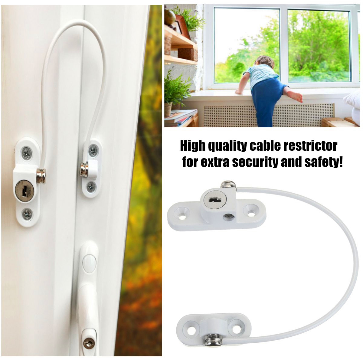 2pcs Lockable Window Door Lock Restrictor Cable Catch For Child Baby Safety Security