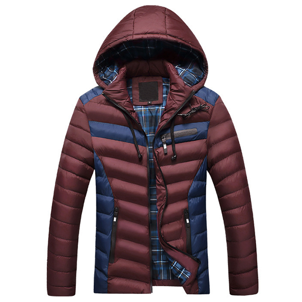 Winter Thick Warm Zipper Detachable Hooded Color Splicing Outwear Jackets for Men
