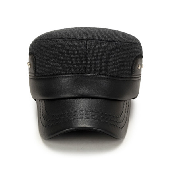 Winter Men Cotton Earflaps Warm Flat Top Hats