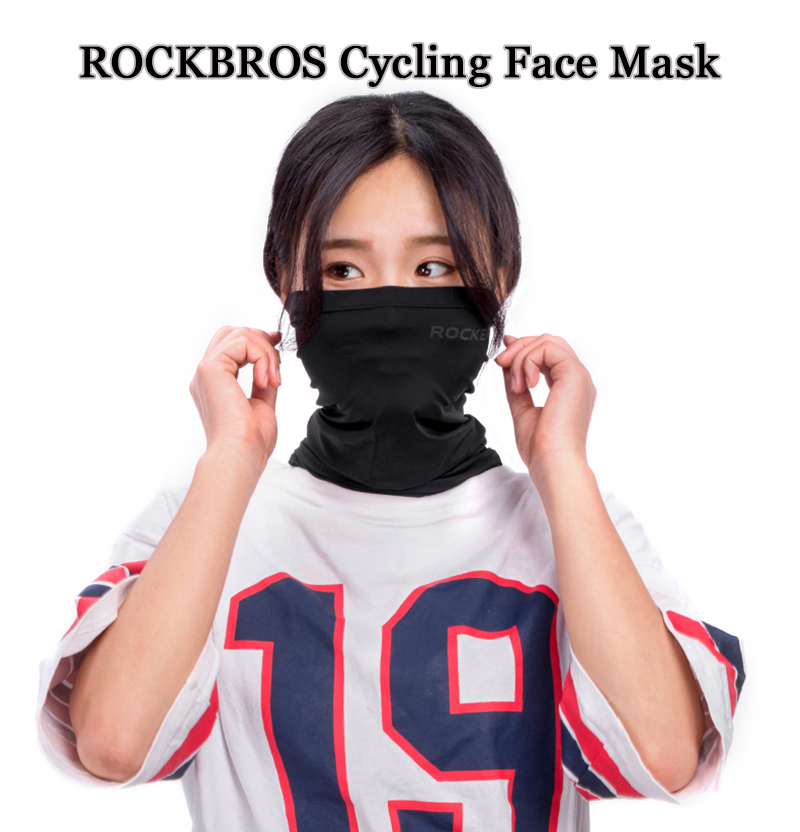 ROCKBROS Ice Silk Fabric Cycling Face Mask Sunscreen UV400 Absorb Sweat Breathable Bandana Half Face Mask