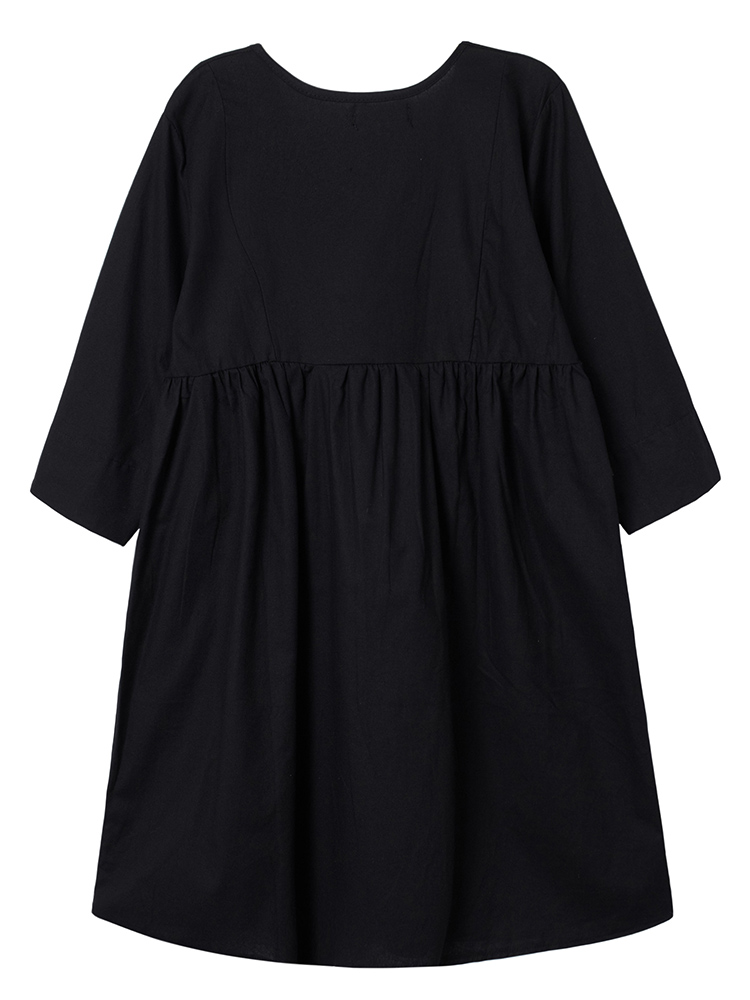 Casual Women V Neck Half Sleeve Pleated Solid A-line Dress