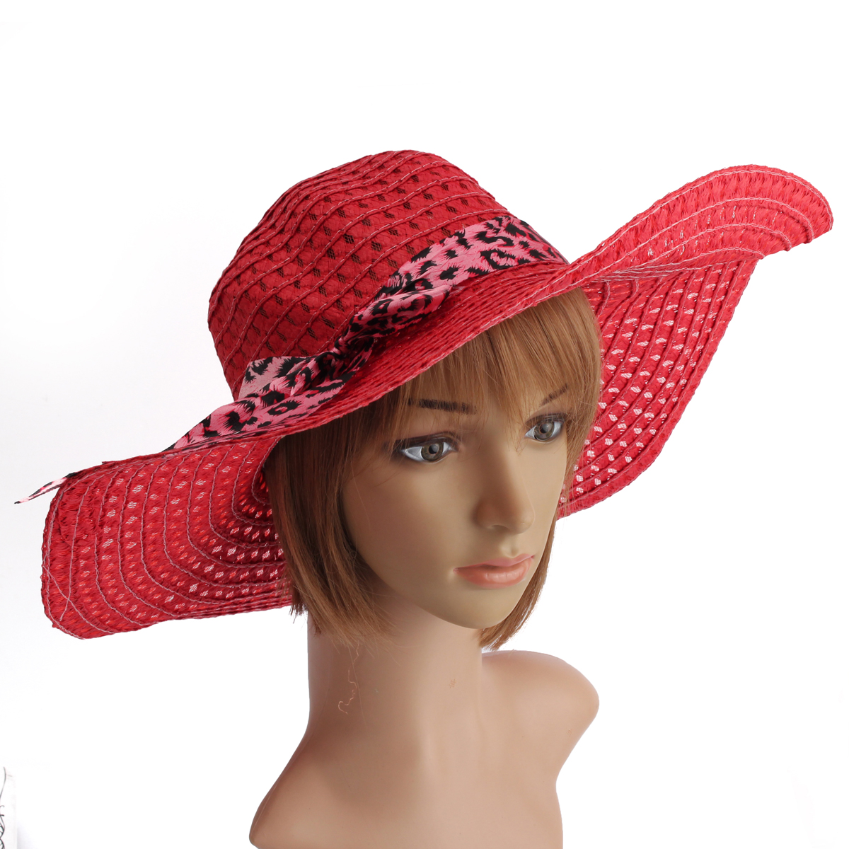 Women Girls Wide Brim Summer Hollow Beach Hat Bowknot Sun Straw Floppy  Beauty Cap 03b219c5fd10