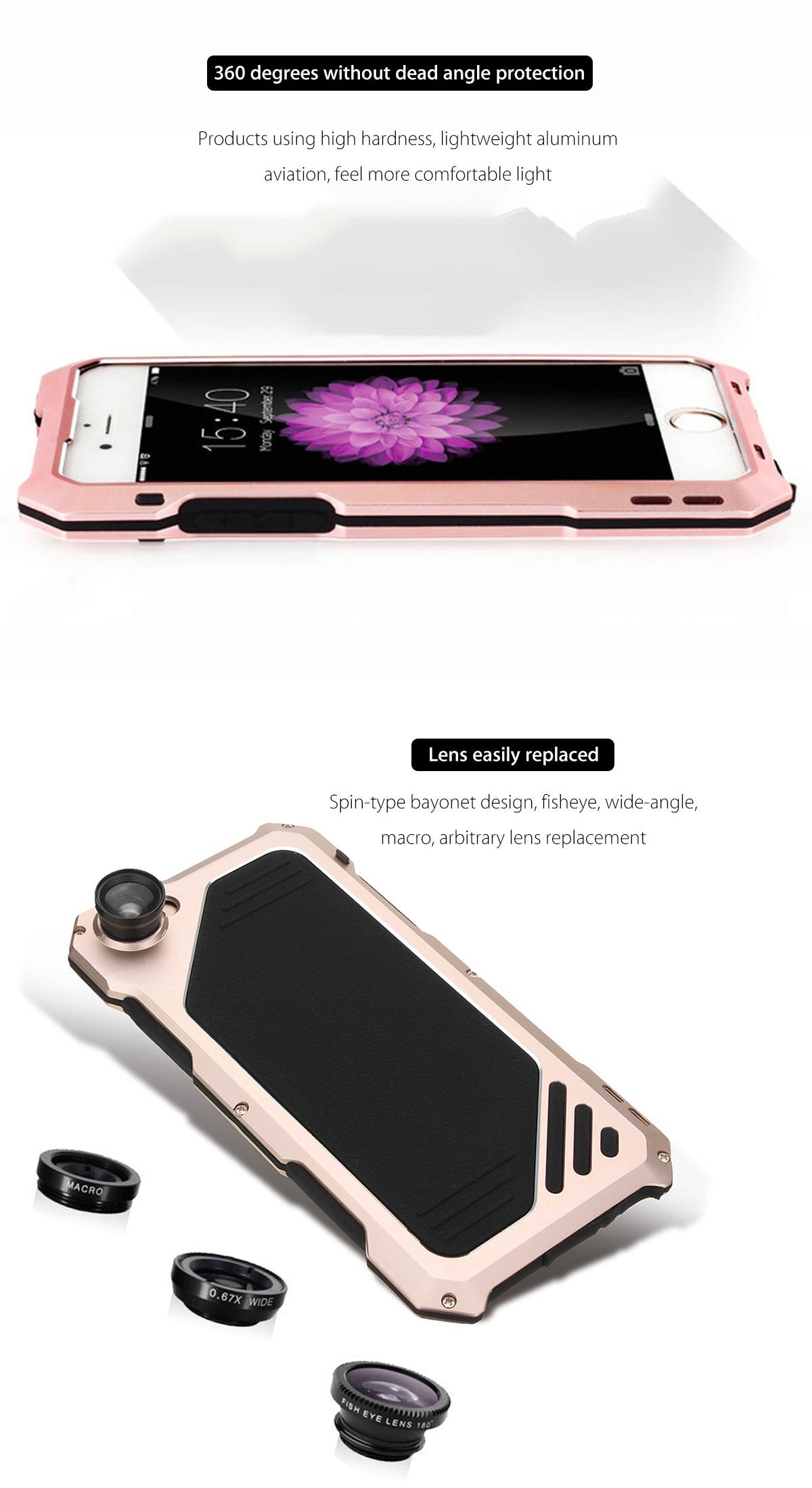 4 en 1 lente impermeable gran angular de la cámara del fisheye del macro para iPhone 6 / 6s más 5.5 pulgadas