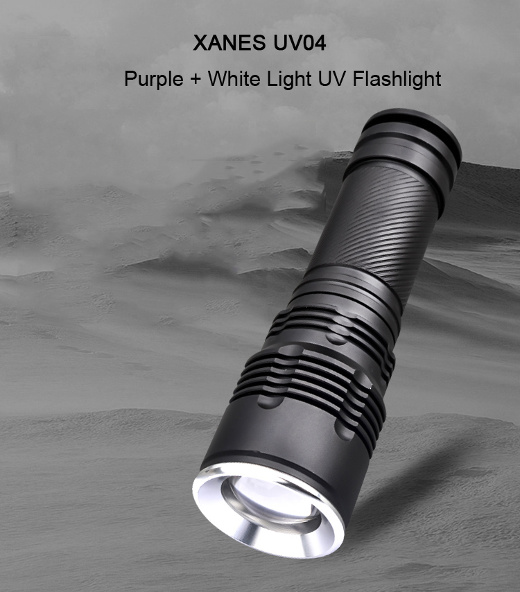 XANES UV04 2x T6 LEDs Purple + White Light UV Flashlight Scorpion Insect Detection Pen