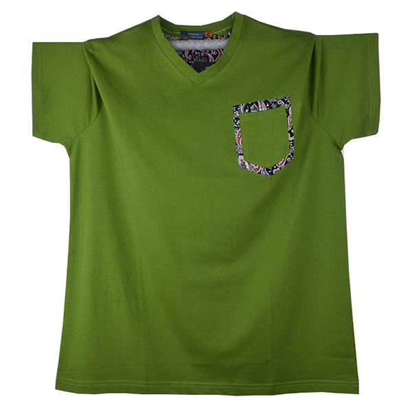 Plus Size Mens Casual Summer Pure Color T-shirt V-neck Collar Cotton Tees