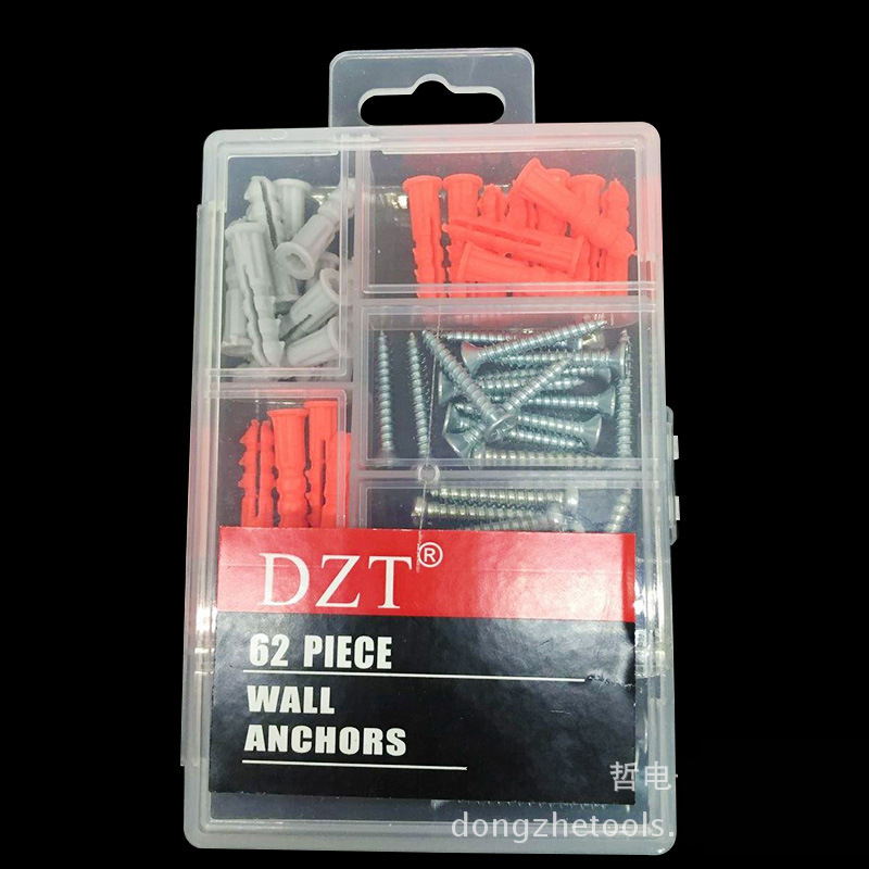 DZT® 62Pcs Wall Anchor Screws Fittings Sets Raw Plugs Hang Assortment Building Tool