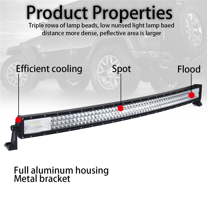 42Inch 7D LED Work Light Bars TRI-ROW Curved Combo Beam 594W 59400LM for JEEP Off Road Boat Truck SUV