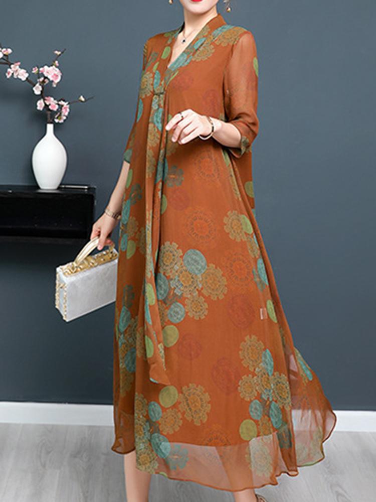 Vintage Women Floral Printed Half Sleeve Dress