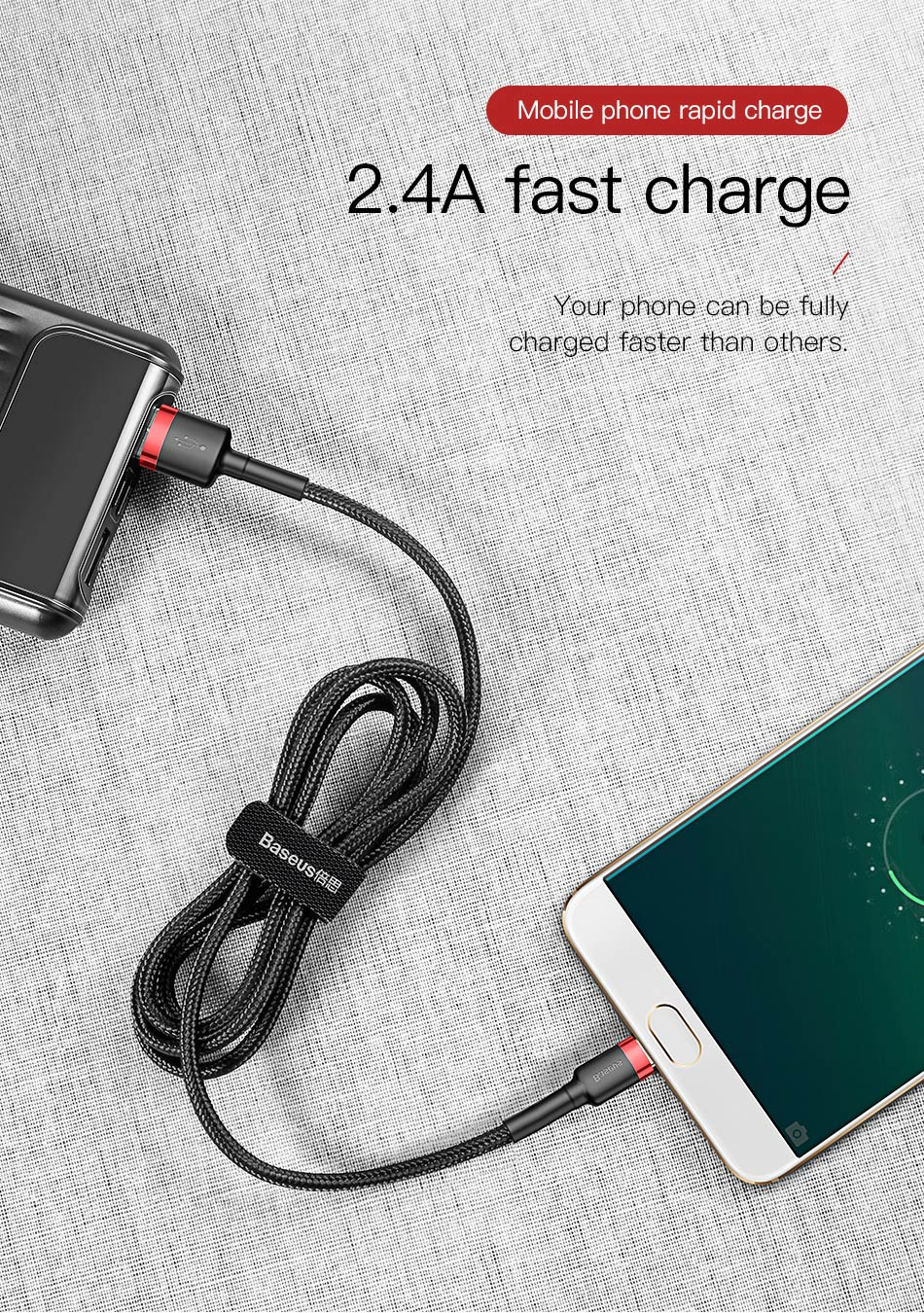 Baseus 2.4A Reversible Micro USB High-density Braided Fast Charging Data Cable For Smartphone Tablet