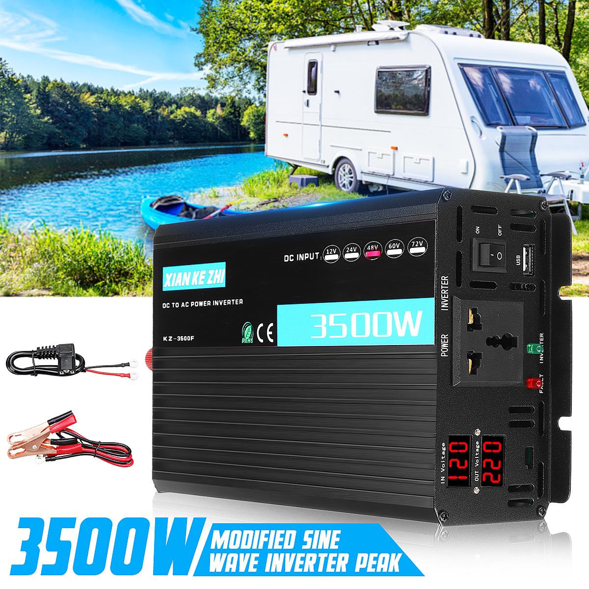 Dual Display Intelligent Power Inverter 3500W Modificato 12/24/48/60 / 72V TO 220V LED Display Convertitore di potenza Multi Protaction