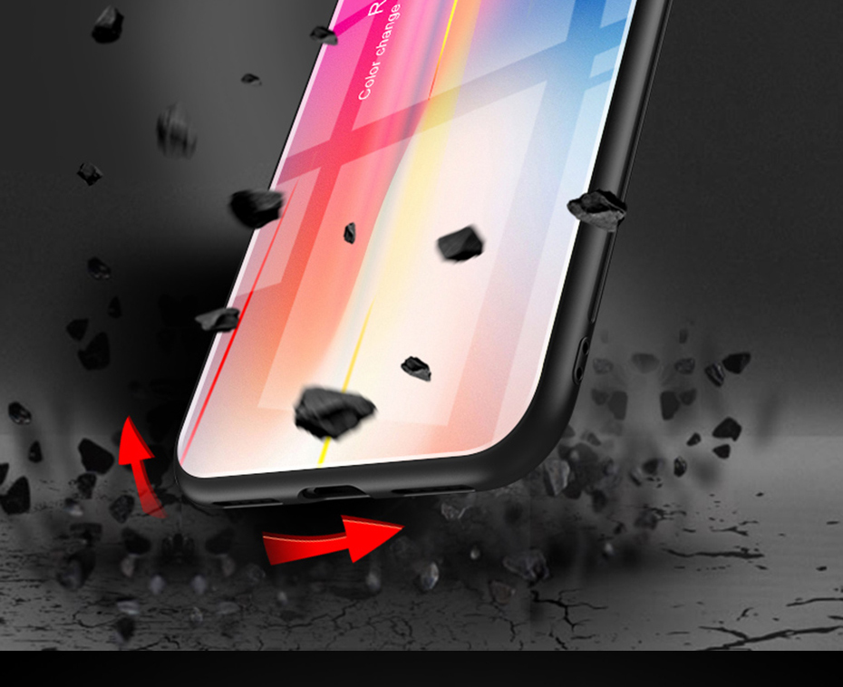 Laser Aurora Gradient Color Tempered Glass Protective Case for iPhone 7 Plus/8 Plus