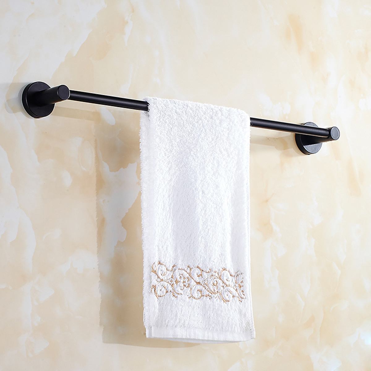 Black Hand Towel Rail Rack Hook Toilet Brush Paper Holder for Bathroom Accessories