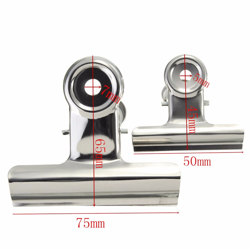 6pcs Stainless Steel Silver Bulldog Clips Money Letter Binder Paper File Clamps