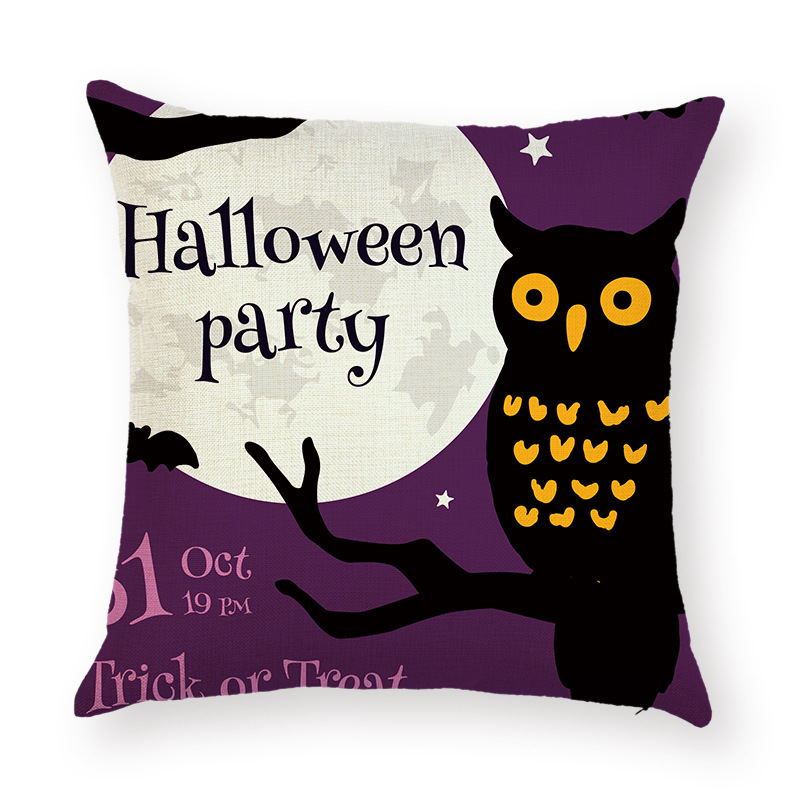 Halloween Terror Pumpkin Bat Owl Pattern Pillowcase Cotton Linen Throw Pillow Cushion Cover Seat Home Decoration Sofa Decor