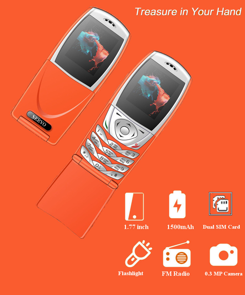 SERVO S06 Flip Phone 1.77'' 1500mAh Torch Vibration bluetooth FM Dual SIM Dual Standby Feature Phone