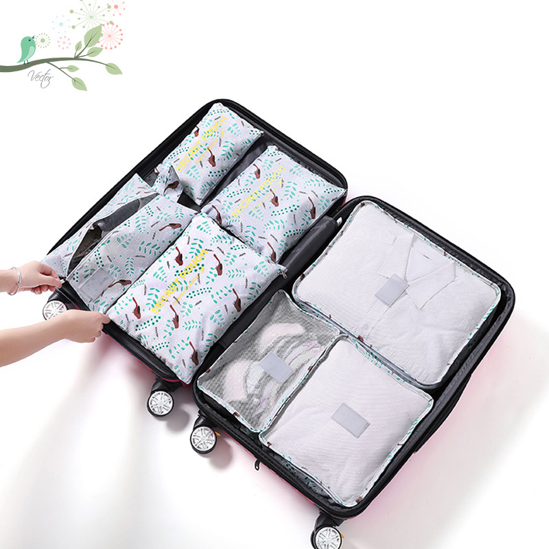 KCASA 7Pcs Travel Storage Bags Set Portable Tidy Suitcase Organizer Clothes Packing Home Closet Divider Container Bag Waterproof Storage Case