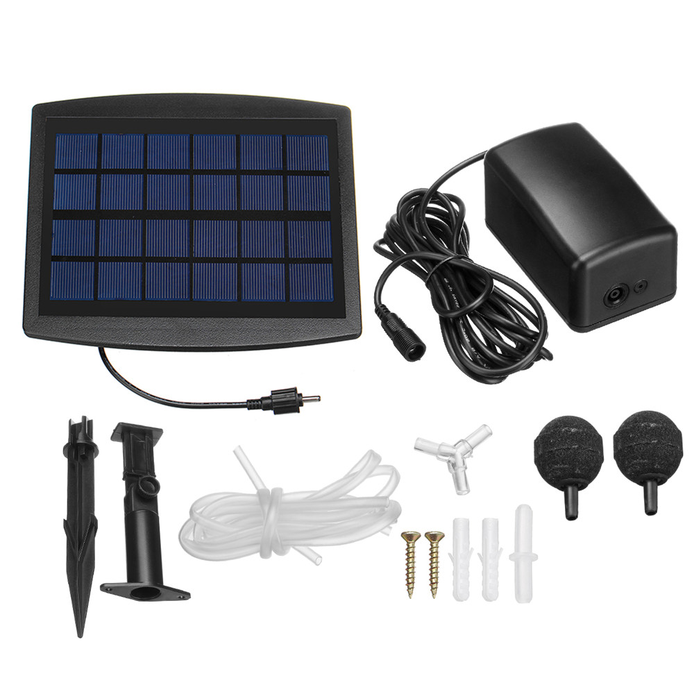 2pcs Air Stone Aerator Pond Water Oxygenator Solar Powered Oxygen Pump With Fixings