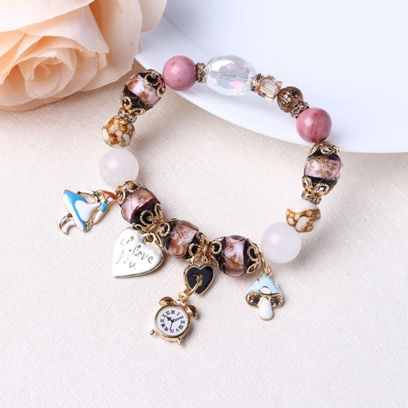 Bohemia Crystal Glass Beaded Bracelets Heart Clock Charm