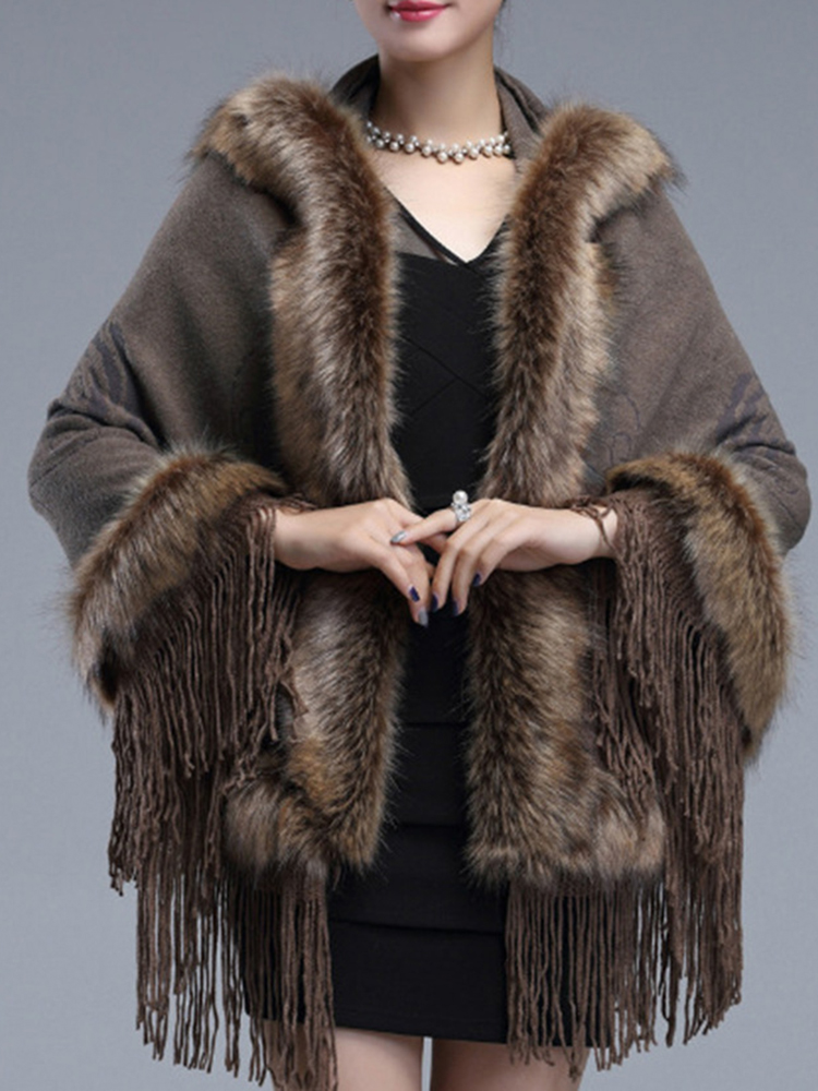 Elegant Women Faux Fur Hooded Cloak Coat