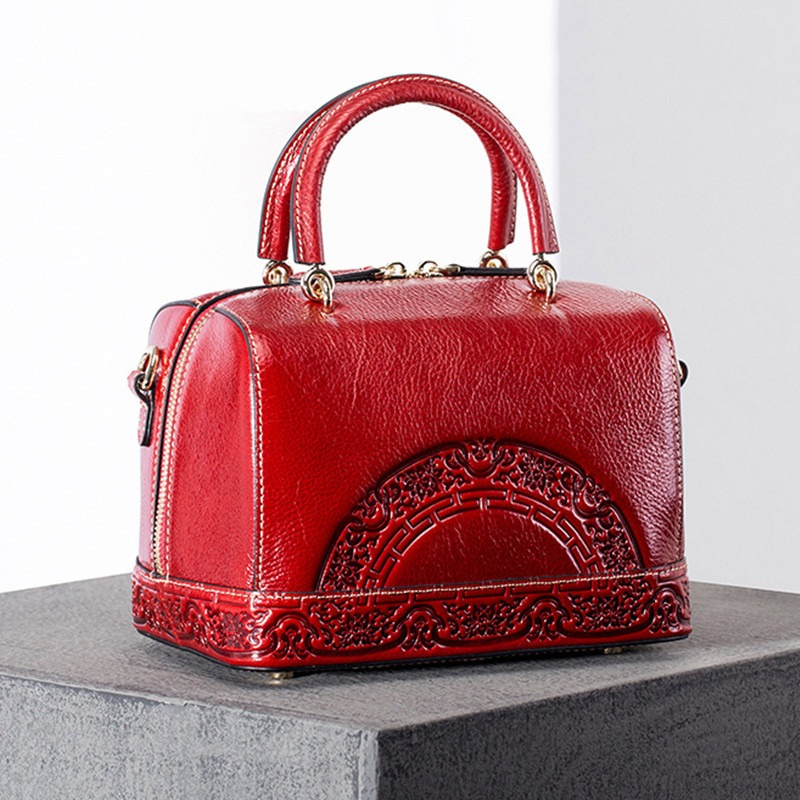 Women Genuine Leather Embossed Chinese Style Shoulder Bag