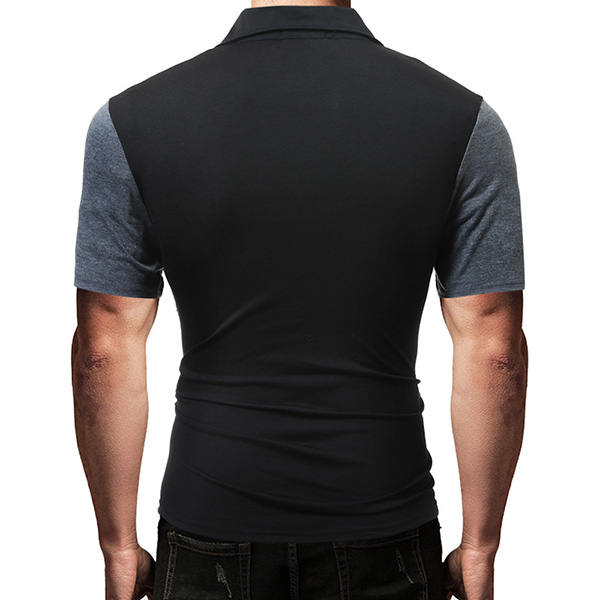 Men's Fashion Stitching Spell Color Short Sleeved Golf Shirt