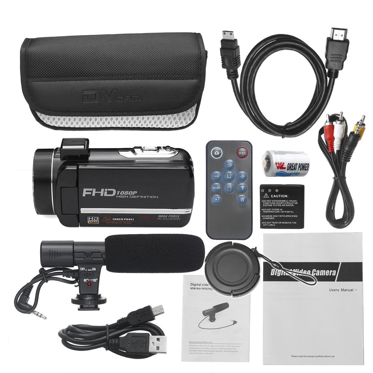FHD 1080P 24MP 3 Inch LCD 16X ZOOM Night Vision Digital Video DV Camera Car DVR