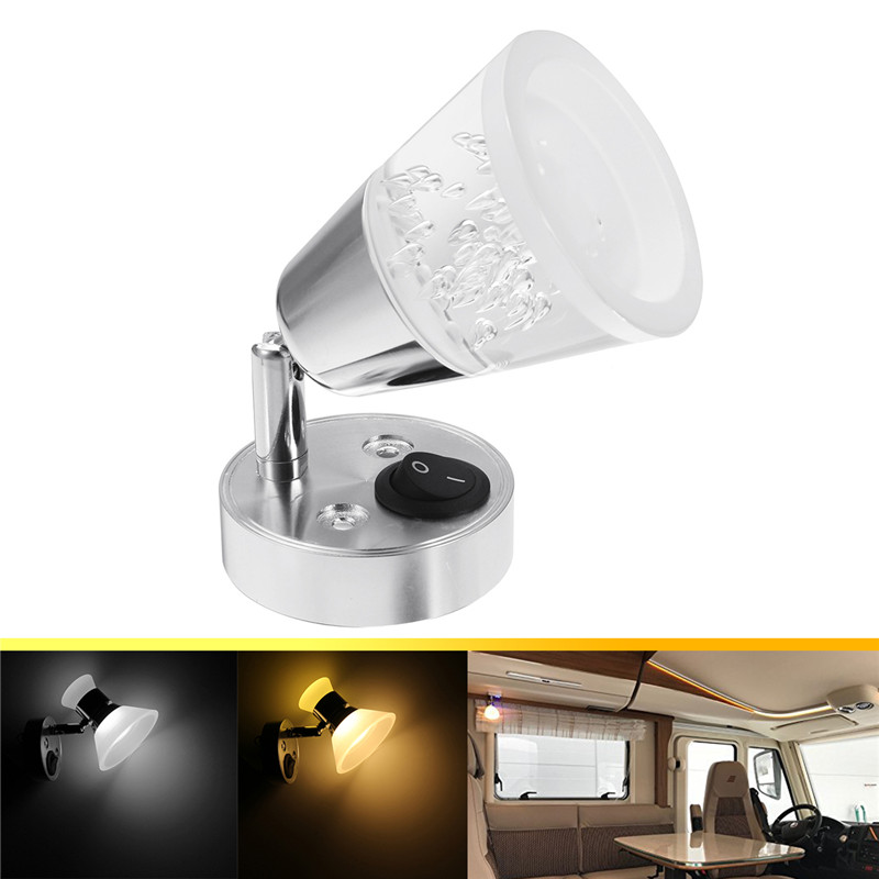 12V LED Reading Light RV Trailer Boat Wall Mount Bedside Book Lamp
