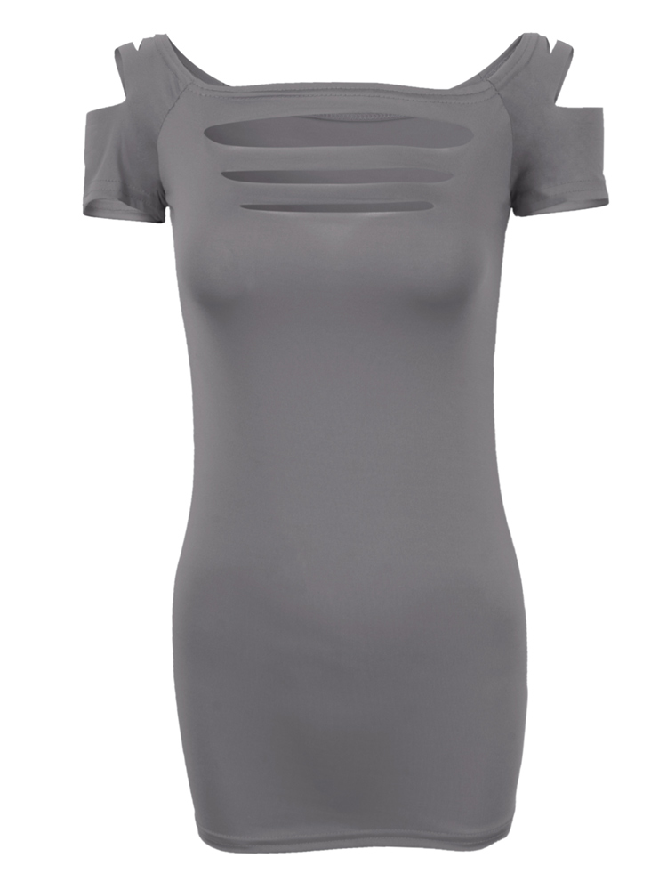 Sexy Slim Cut Out Short Sleeve Stretch T-Shirt For Women
