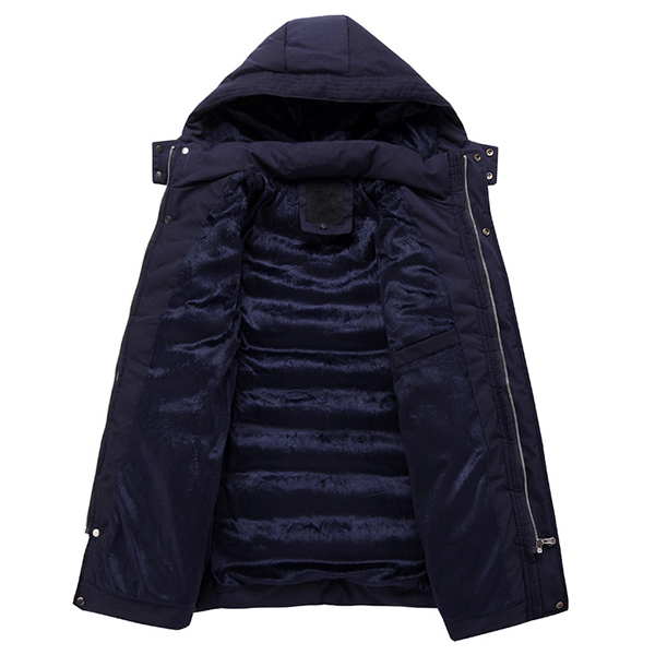 Cotton Padde Thick Warm Hooded Zipper Wintre Quilted Jacket Coat for Men