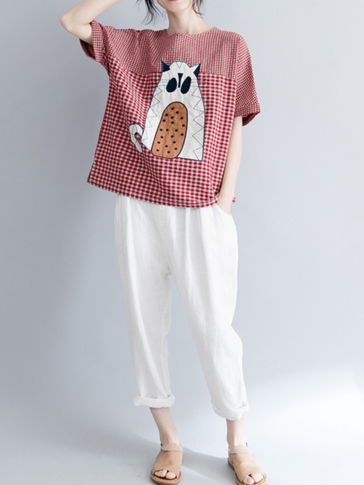 Women Cotton Linen Cartoon Cat Embroidered Short Sleeve T-Shirts