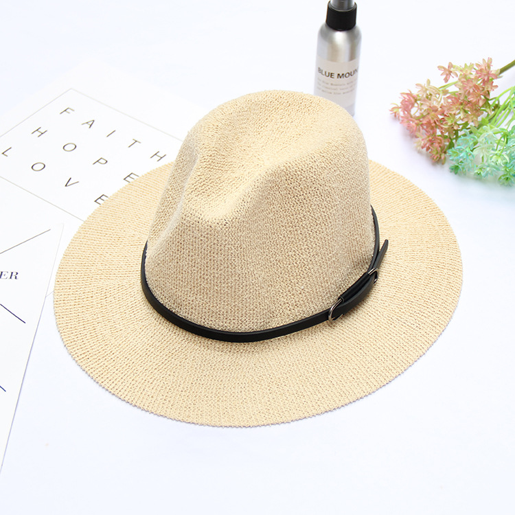 Women Summer Knit Fedora Jazz Caps Wide Brim Sunscreen Panama Beach Visor Hat