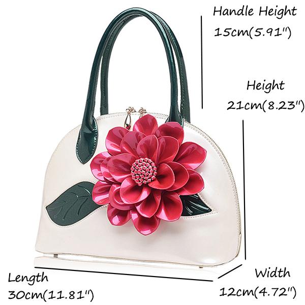 Brenice Women National Style Shell Bag Leather Rose Decoration Handbag