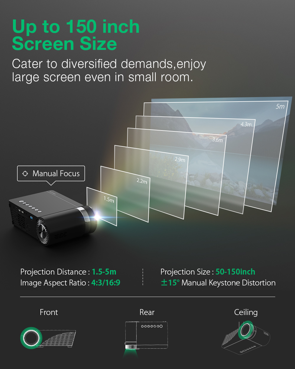 BlitzWolf® BW-VP8 WIFI Projector 5500Lumens LCD LED Cast Screen Bluetooth5.0 Earphone Sound Wireless Phone Same Screen Full HD 1080P Supported 150