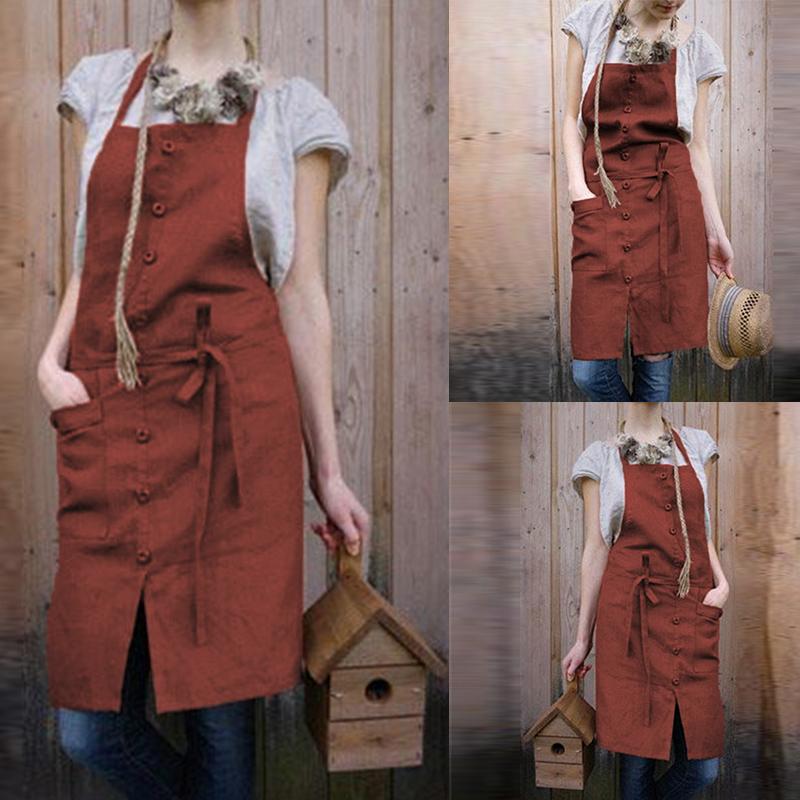 VONDA 8-24 Chef Cooking Baking Fashion Women Strap Button Cotton Bib Pinafore Aprons