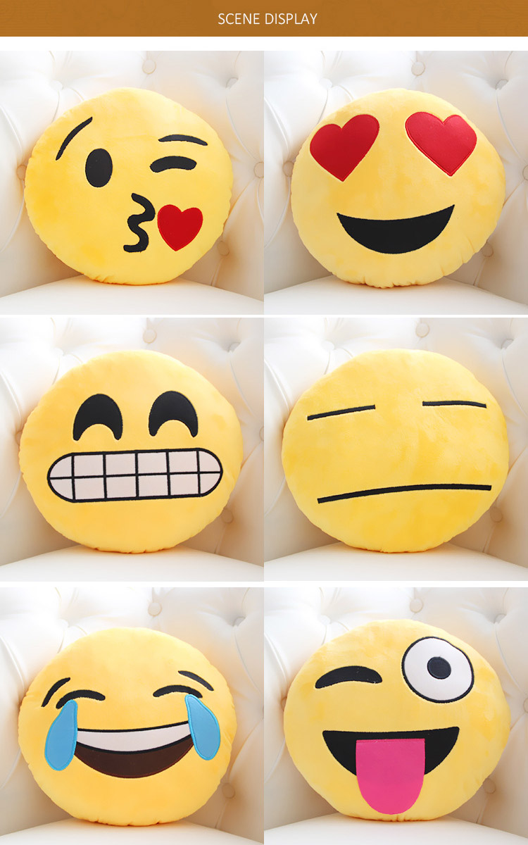 New Cute Emoji Expression Throw Cotton Pillow Stuffed Plush Sofa Bed Cushion