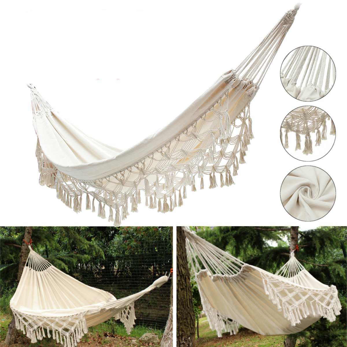 240x150CM Large Double Cotton Hammock Fringe Swing Beac