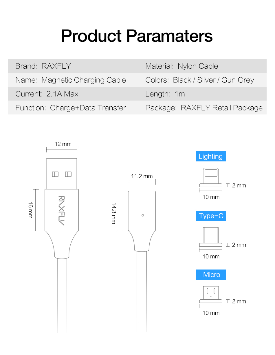 RAXFLY 2.1A Magnetic Braided Micro USB Fast Charging Data Cable 1M For Xiaomi Redmi Note 5 5 Plus S7