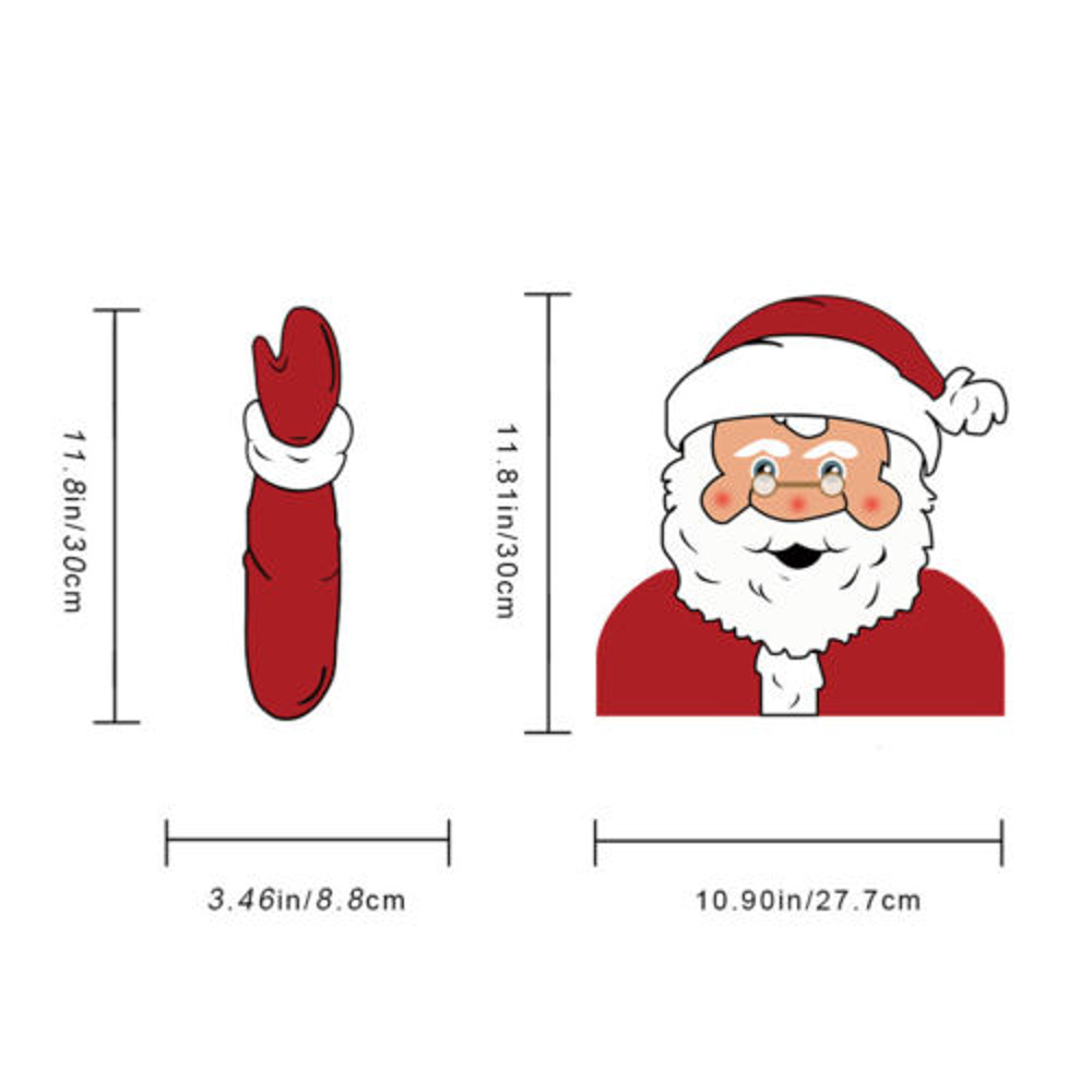 Christmas Car Rear Window Wiper Waving Santa Claus Snowman Stickers Tags Decals