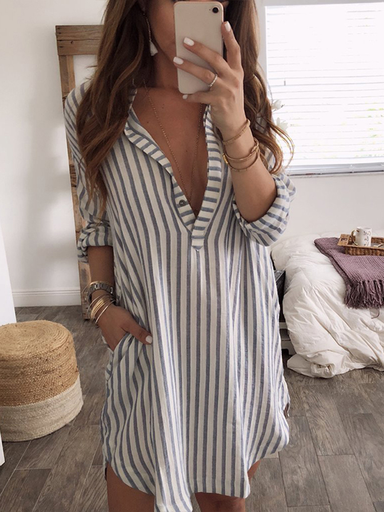 Plus Size Long Sleeve V Neck Stripe Tops Shirt Mini Dress