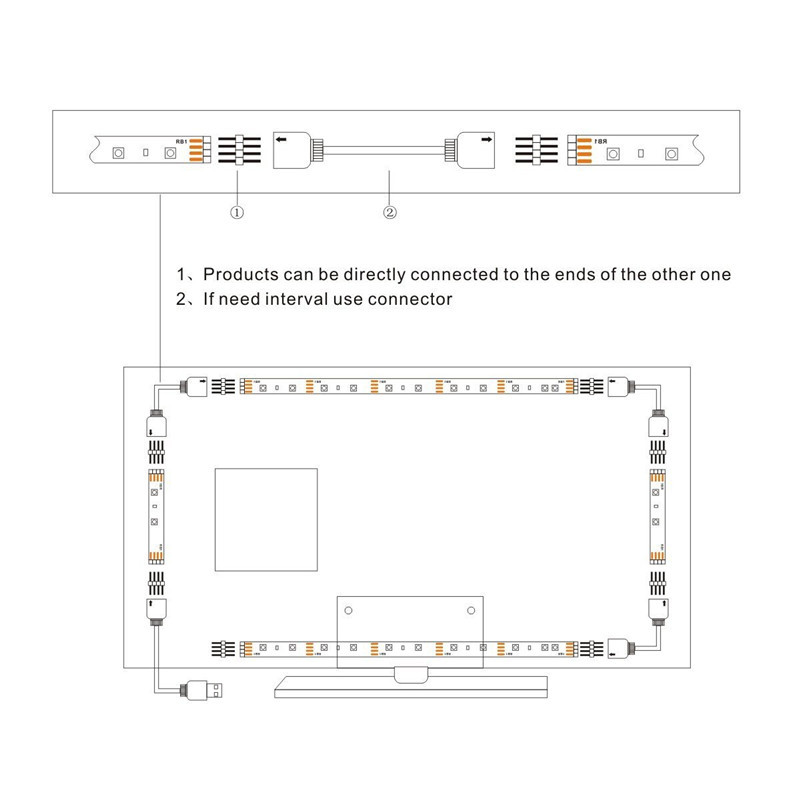 4pcs 50cm 5050 USB Powered RGB Color Change LED Strip Computer USB TV Backlight Light DC5V