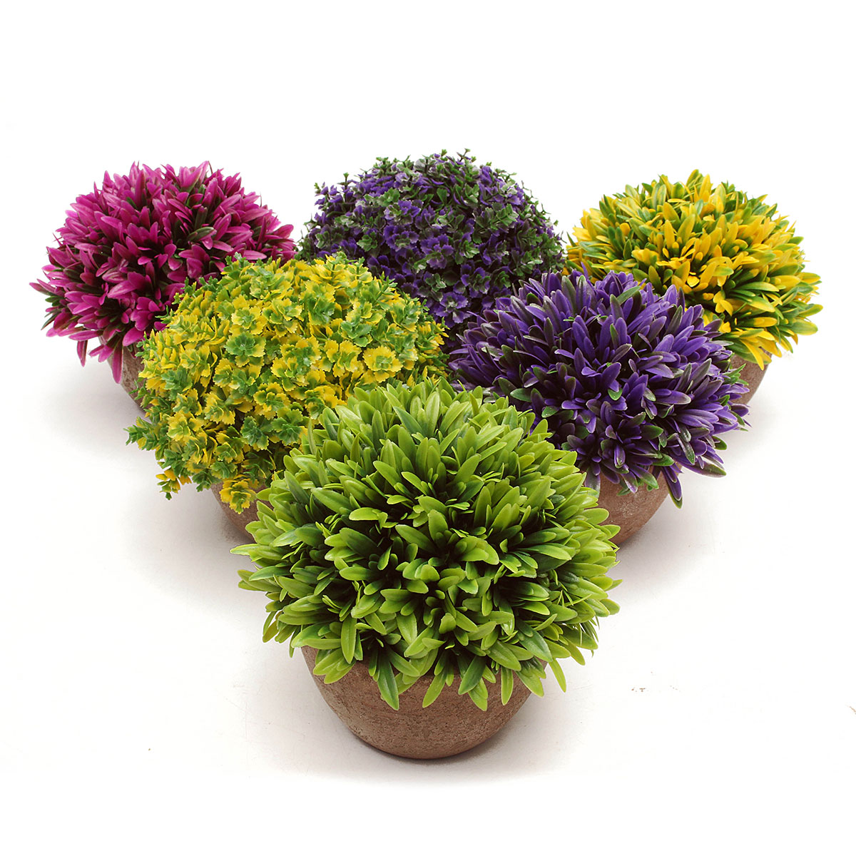 Colorful Artificial Topiary Tree Ball Plants Pot Garden Office Home Indoor Decor Flower