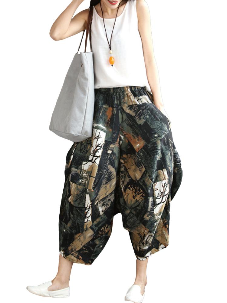 Folk Leisure Loose Print Pocket Harem Pants For Women