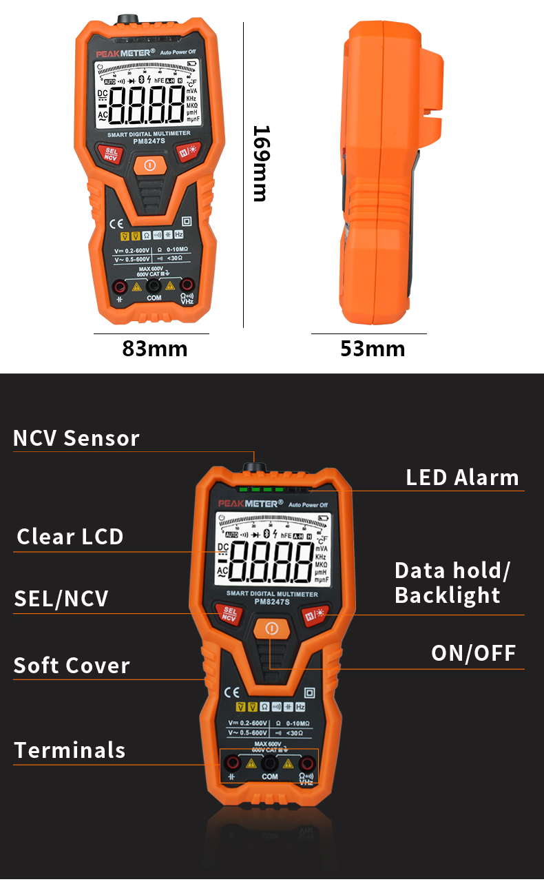PEAKMETER PM8247S Auto Range Professional Digital Multimeter Voltmeter Ammeter with NCV Frequency Bargraph