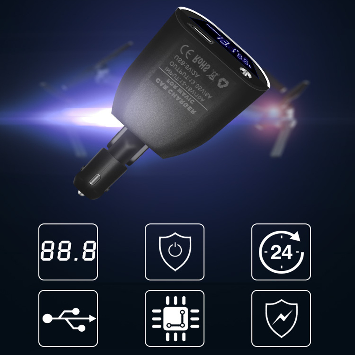 2in1 Intelligent Car Charger Adapter For DJI Mavic Pro Battery&Remote Controller