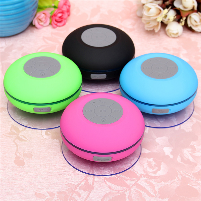 Waterproof Wireless bluetooth Hands Free Mic Suction LED Light Speaker Shower