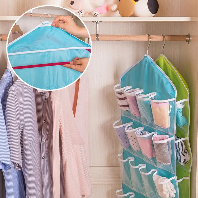 16 Pockets Multifunction Underwear Sorting Storage Bag Door Wall Hanging Closet Organizer Bag Space-Saving Underwear Storage Bags